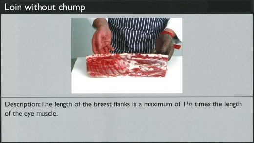 Cuts of lamb - loin without chump