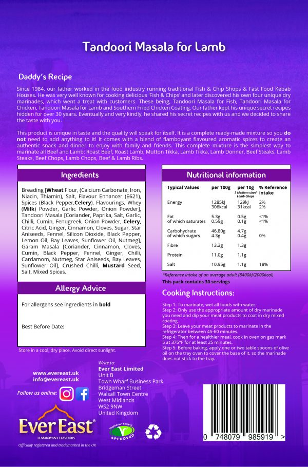Lamb Tandoori Masala 300g easy lamb dry-rub marinade Euro Quality Lambs