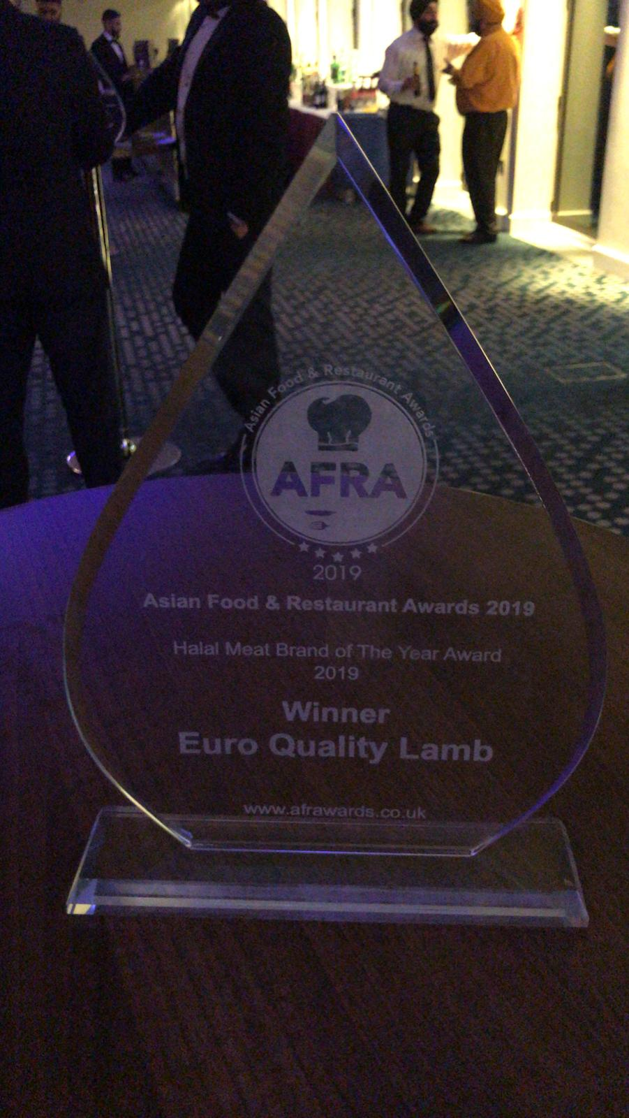 Euro Quality Lambs wins Asian Food Restaurant - Halal Meat Brand of the Year Award 2019 trophy